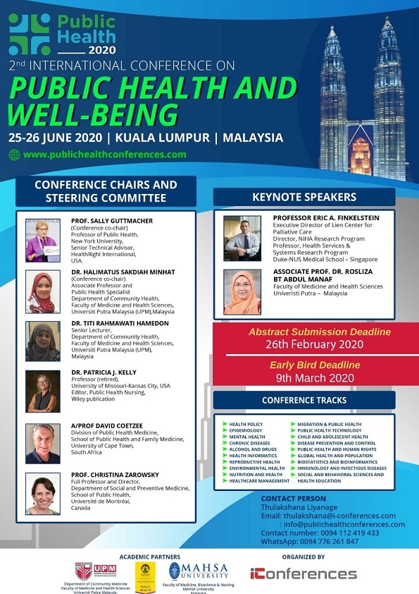 2nd International Conference on Public Health and Well-being